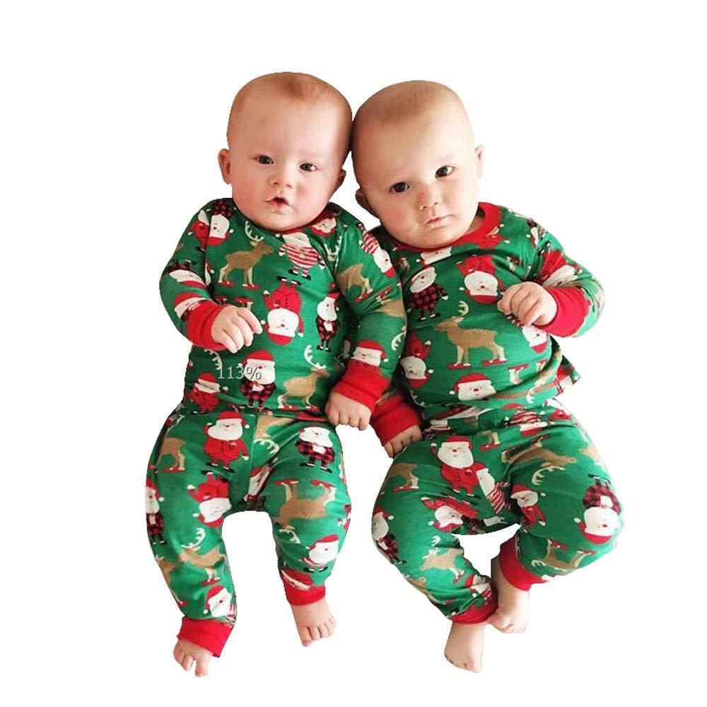 Iuhan  Infant Baby Christmas Pajamas Santa T Shirt Tops+Pants Xmas 2PC Set (18-24 Months, Green)