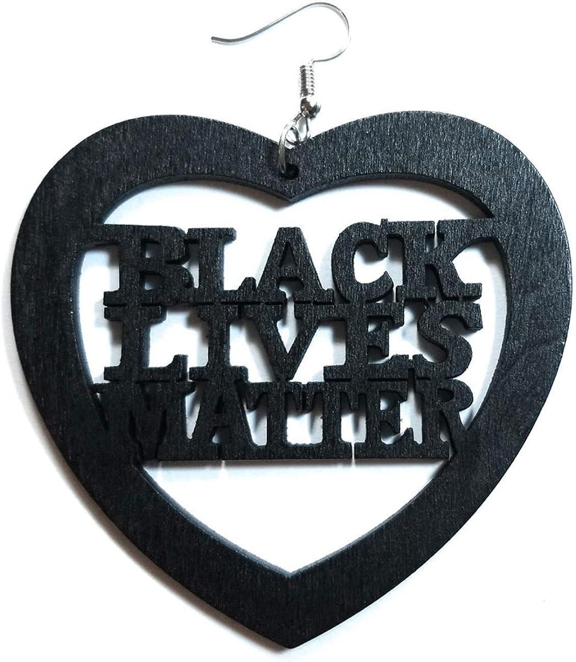 Large 3 BLACK LIVES MATTER Purple Wooden Dangle Drop Earring Fashion Jewelry