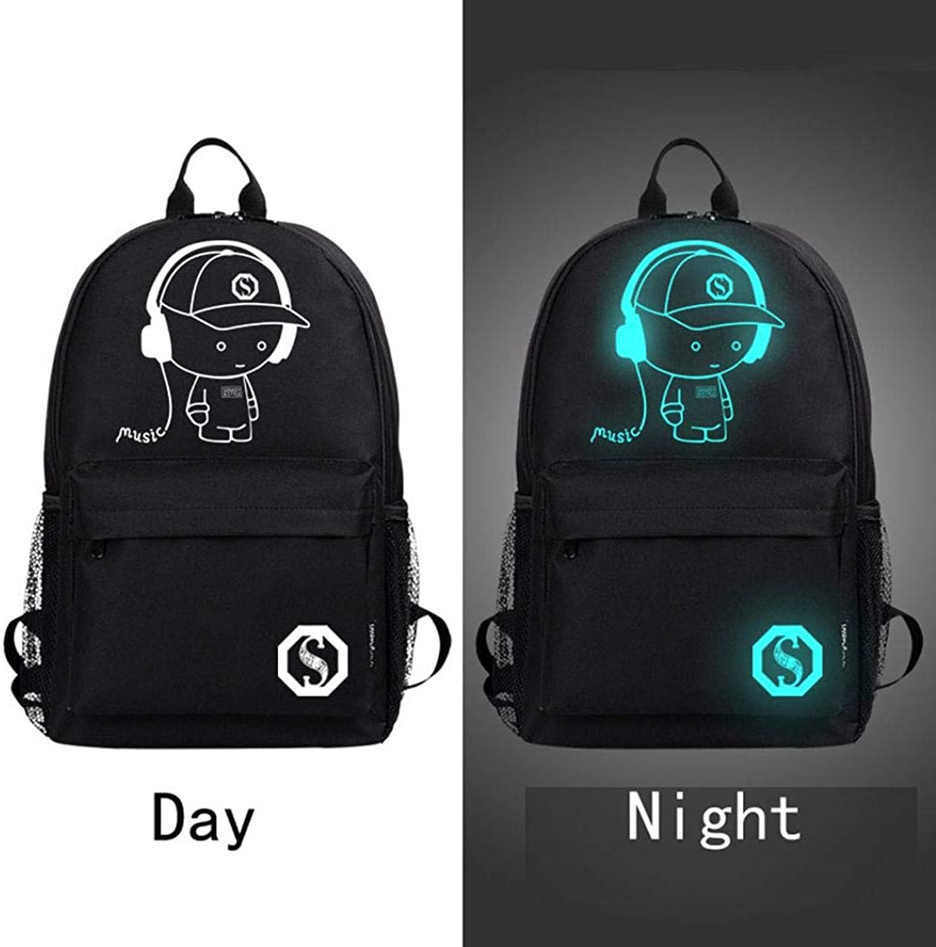 Wobuoke Unisex Light Preppy Teenagers Noctilucent Cartoon Fashion School Bags Student Backpack Clearance