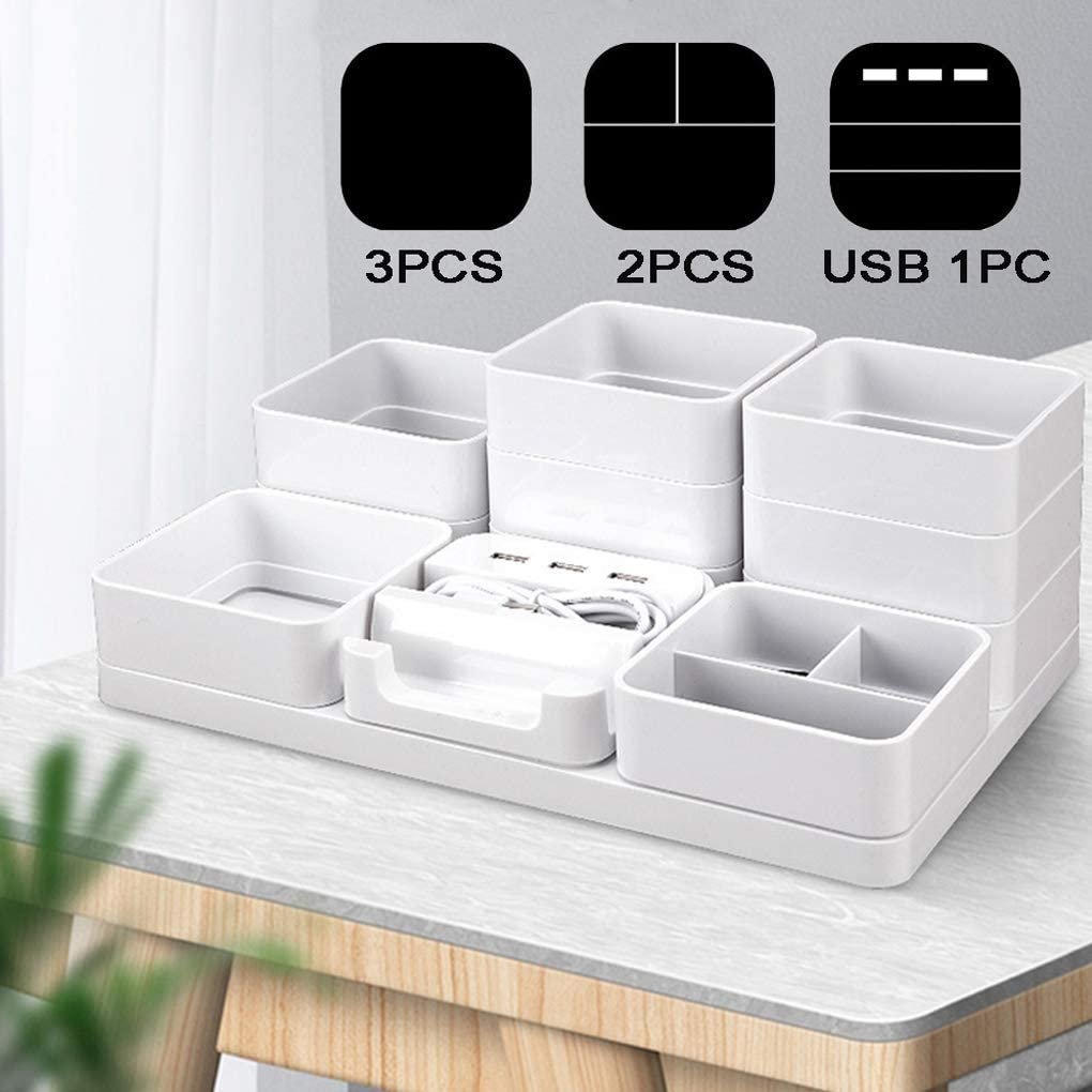 iDili All-in-1 DIY Desk Organizer, Multifunctional Desktop Storage Collection Box, Desk Tidy Organizer for Home, Office, 6 Compartments, 3 USB Charging Ports, Pen & Phone Holder (White)