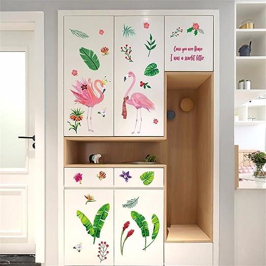 Bomeautify Chambre fille princesse atrium chambre mur de fond autocollant  papier licorne flamingo bande dessinée sticker mural peinture flamant rose B