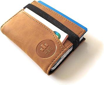 Cartera pequeña y Original con Seguridad RFID. Tarjetero Billetero Minimalista para Hombre y Mujer con Capacidad para 12 Tarjetas y Billetes. GOANSEE (Camel): Amazon.es: Equipaje