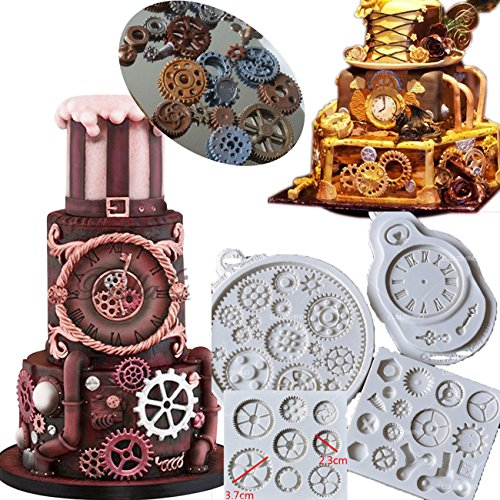 Anyana Steampunk Cogs wheel Gears Pocket Clock watch candy moulds silicone fondant molds for cake decorating supplies cupcake topper decoration sugarcraft set of -