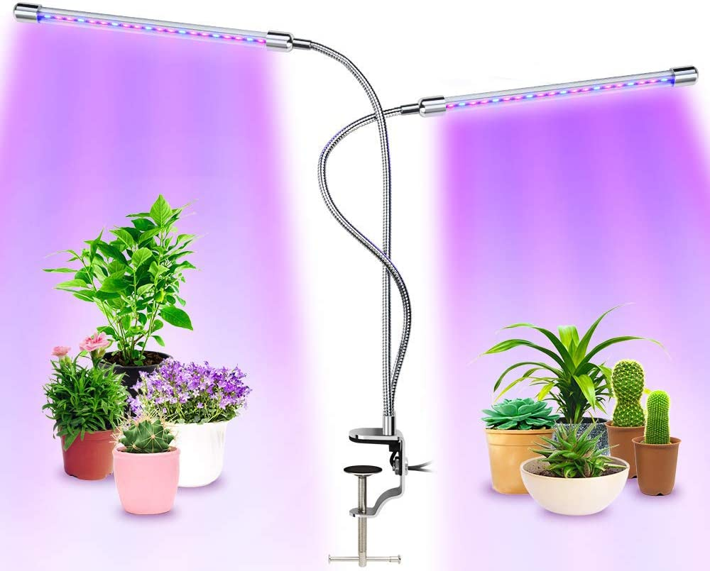 Grow Light, MuchaLux Upgraded LED Clip Grow Lamp, 20W Dual Head Auto ON/Off Full Spectrum UV Desk Light for Indoor Plants with 3/6/12H Timer & 6 Dimmable Levels for Garden Seedling Herbs Succulent