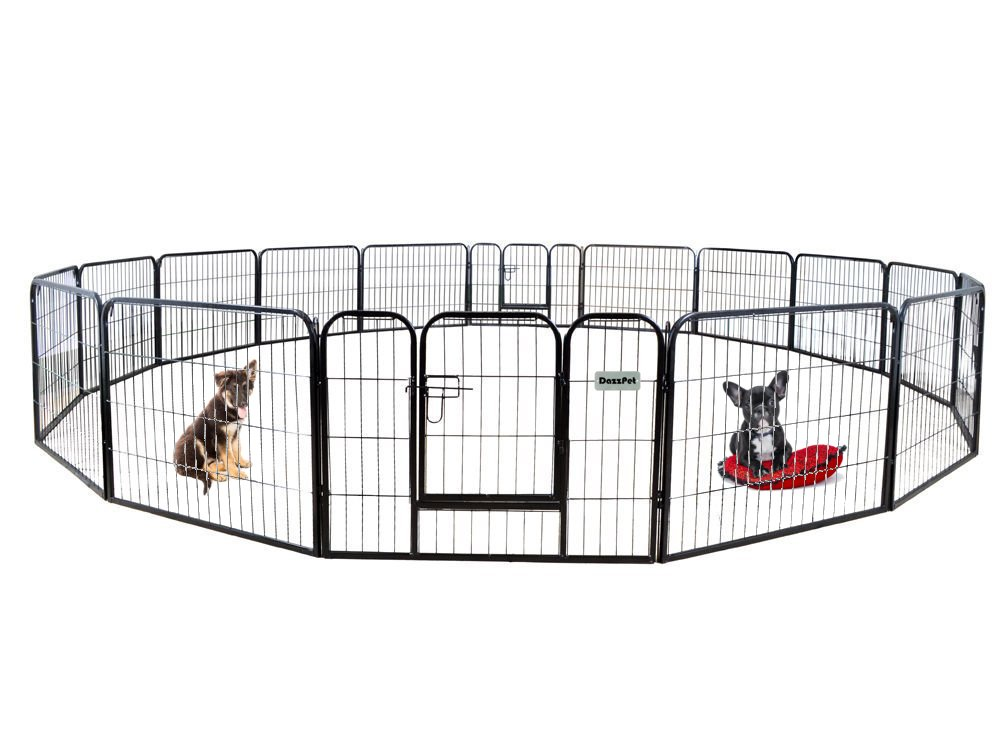 DazzPet Dog Puppy Large Playpen Metal Fence with Door | Heavy Duty Pet Pen Outside Exercise RV Play Yard | Outdoor Indoor Courtyard Kennel Crate Enclosures | 24'' Height 16 Panel