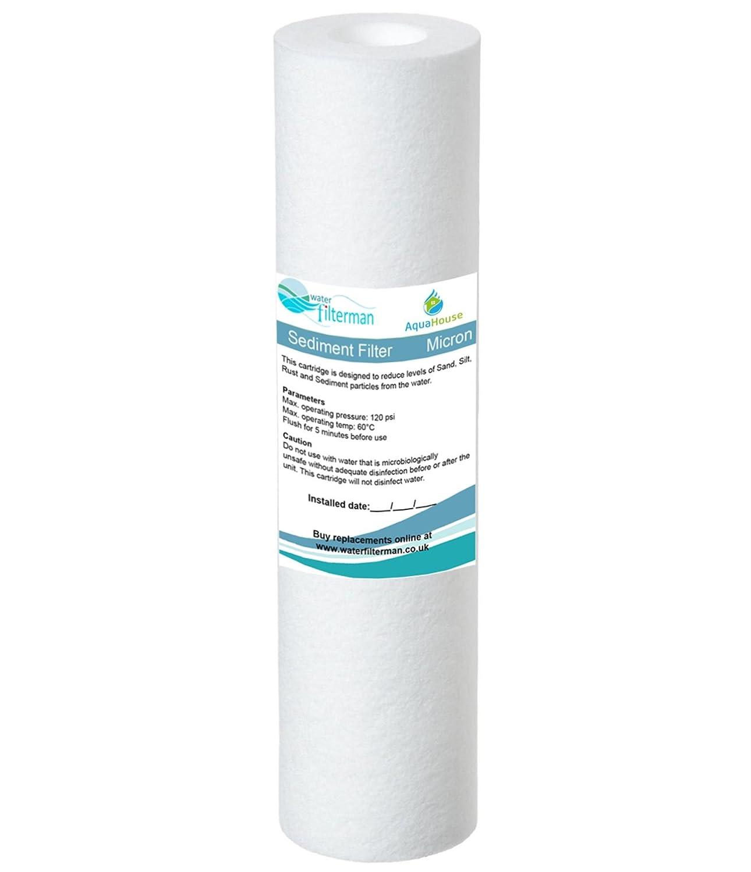 AquaHouse 10 'cartouche de filtre à eau de sédiment pour l'osmose inverse, l'eau a nourri la filtration de poteau et de Partictle, adapte aux logements standard de filtre de 10' - 5 microns