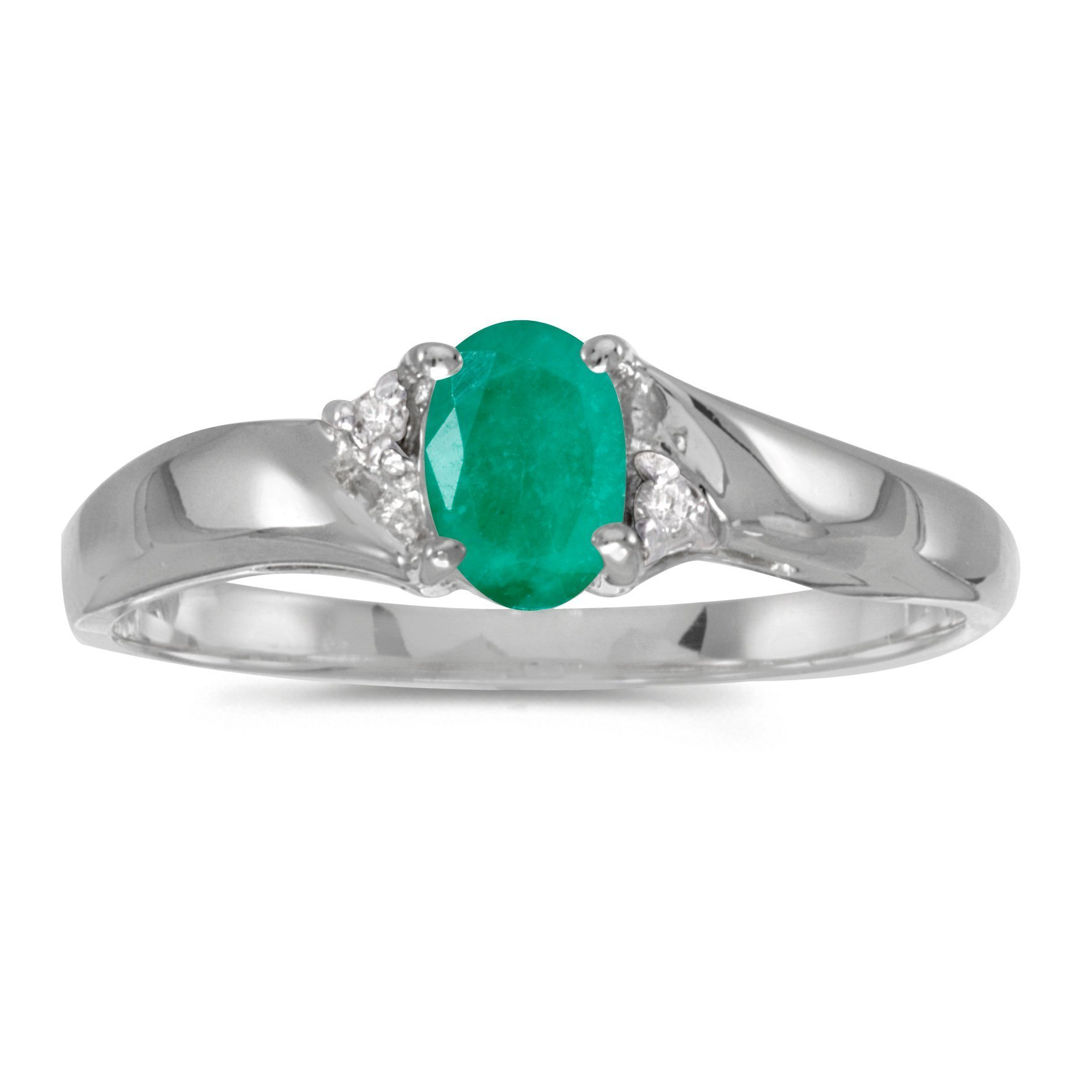 FB Jewels 925 Sterling Silver Oval Emerald And Diamond Wedding Engagement Statement Ring - Size 10.5 (0.31 Cttw.)