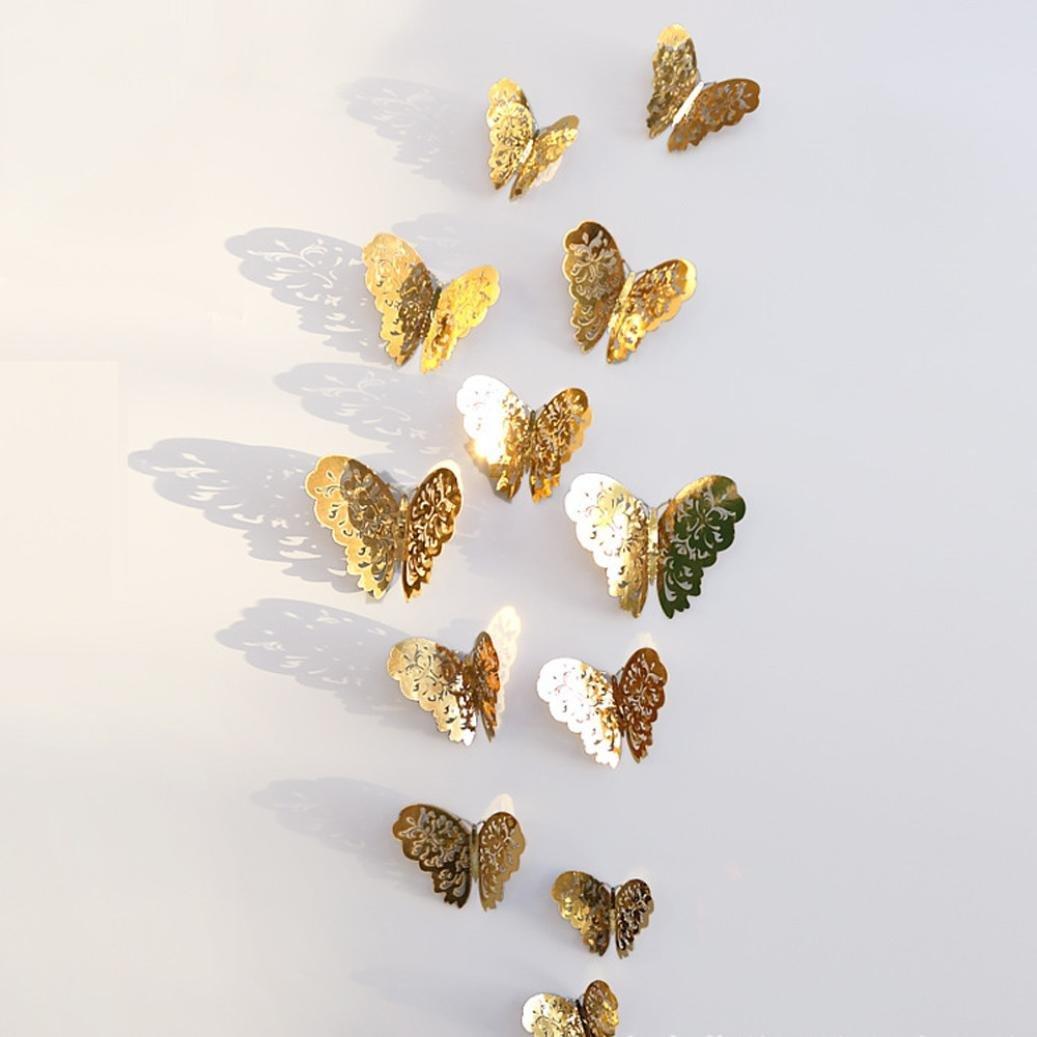 wandaufkleber wandtattoos Ronamick 12 Stücke 3D Hohlwandaufkleber Schmetterling Kühlschrank für Heimtextilien Neu Wandtattoo Wandaufkleber Sticker Wanddeko für Schlafzimmer Wohnzimmer Kinderzimmer (A) 1231123