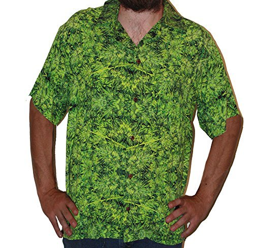 Hawaiian Shirts Mens Rayon Aloha Party Holiday Amnesia Kush- XL by Cannaflage Designs