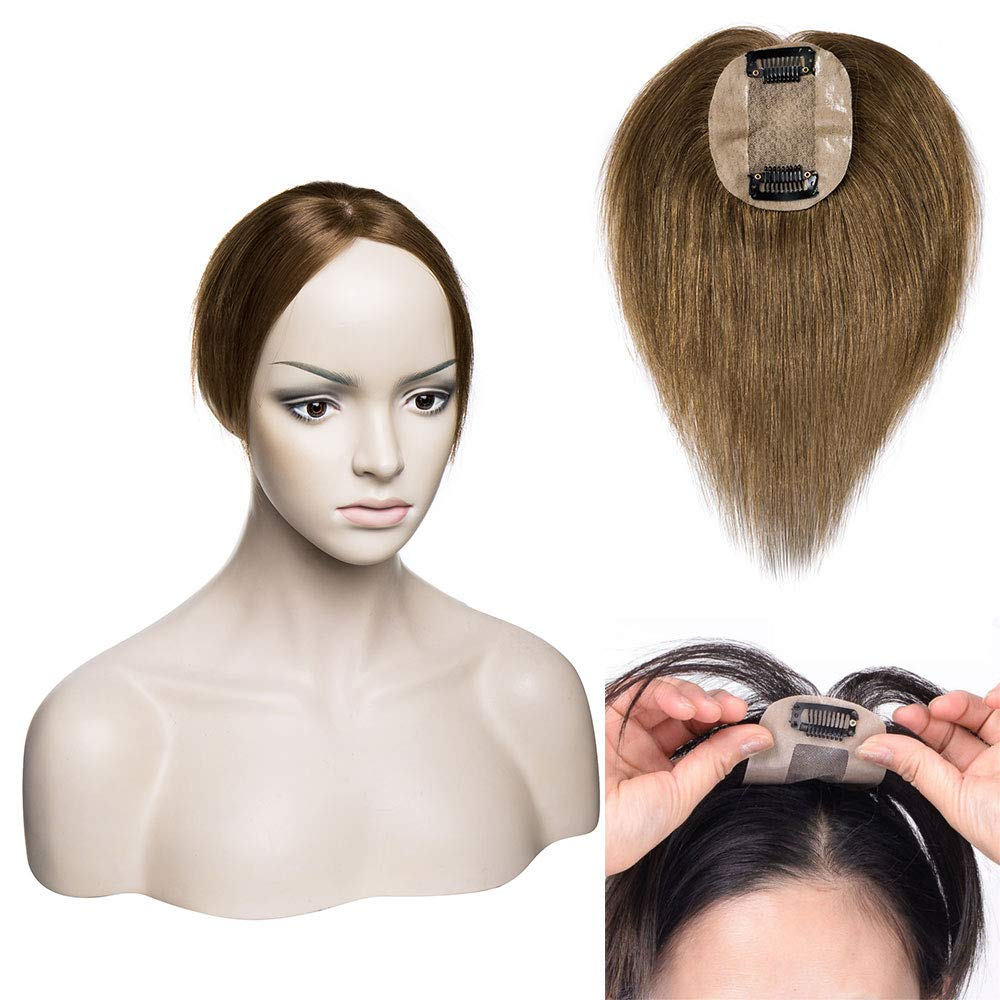 Hair Crown Toppers for Women Clip in Indian Remy Human Hair Straight Hair Piece Silk Base Toupee with Thinning Hair (6'', Light Brown #6) by US Fashion Outlet