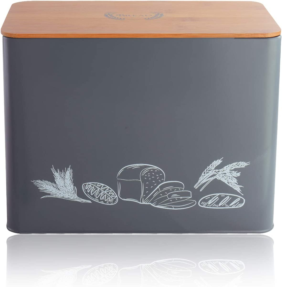Large Bread Storage Organizer Bread Container Space Saving Bread Holder for Kitchen Counter Bread Box with Handles /& Bamboo Tongs Modern Metal Bread Bin Bamboo Cutting Board Lid 40 x18 x12cm