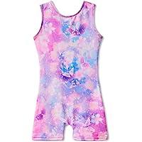 MYQFF Leotards for Girls Gymnastics with Shorts Butterfly Unicorn Mermaid Dance Unitards Biketards Hotpink Black