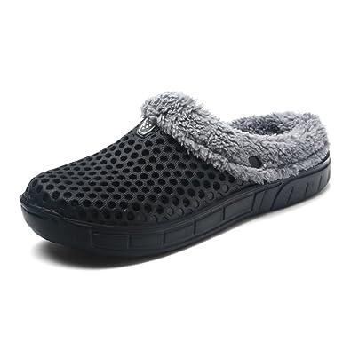 JACKSHIBO Unisex Winter Warme Baumwolle Pantoffeln Komfort Home Rutschfeste Hausschuhe Indoor Outdoor Atmungsaktiv Slippers,Rot,EU38
