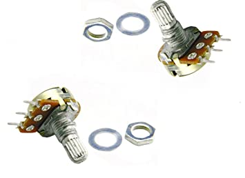 ProTechTrader 1k Ohm potenciómetro (2pcs) - Linear Taper Rotary Panel Pot - B1K 16 mm (~ 5/8 ...