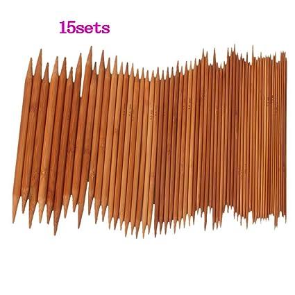 """US 0-15 15 sets 8/"""" Bamboo Knitting Needles DP"""