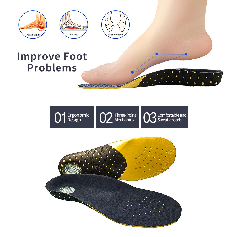 Feet Pain Shoe Insoles for Plantar Fasciitis Comfort Lightweight Insoles Orthotic Insoles Full Length with Arch Supports Orthotic Inserts for Flat Feet