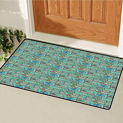 GloriaJohnson Kids Car Race Track Roadway Activity Welcome Door mat Lively Town Components Illustration Cartoon Style Door mat is odorless and Durable W15.7 x L23.6 Inch Multicolor