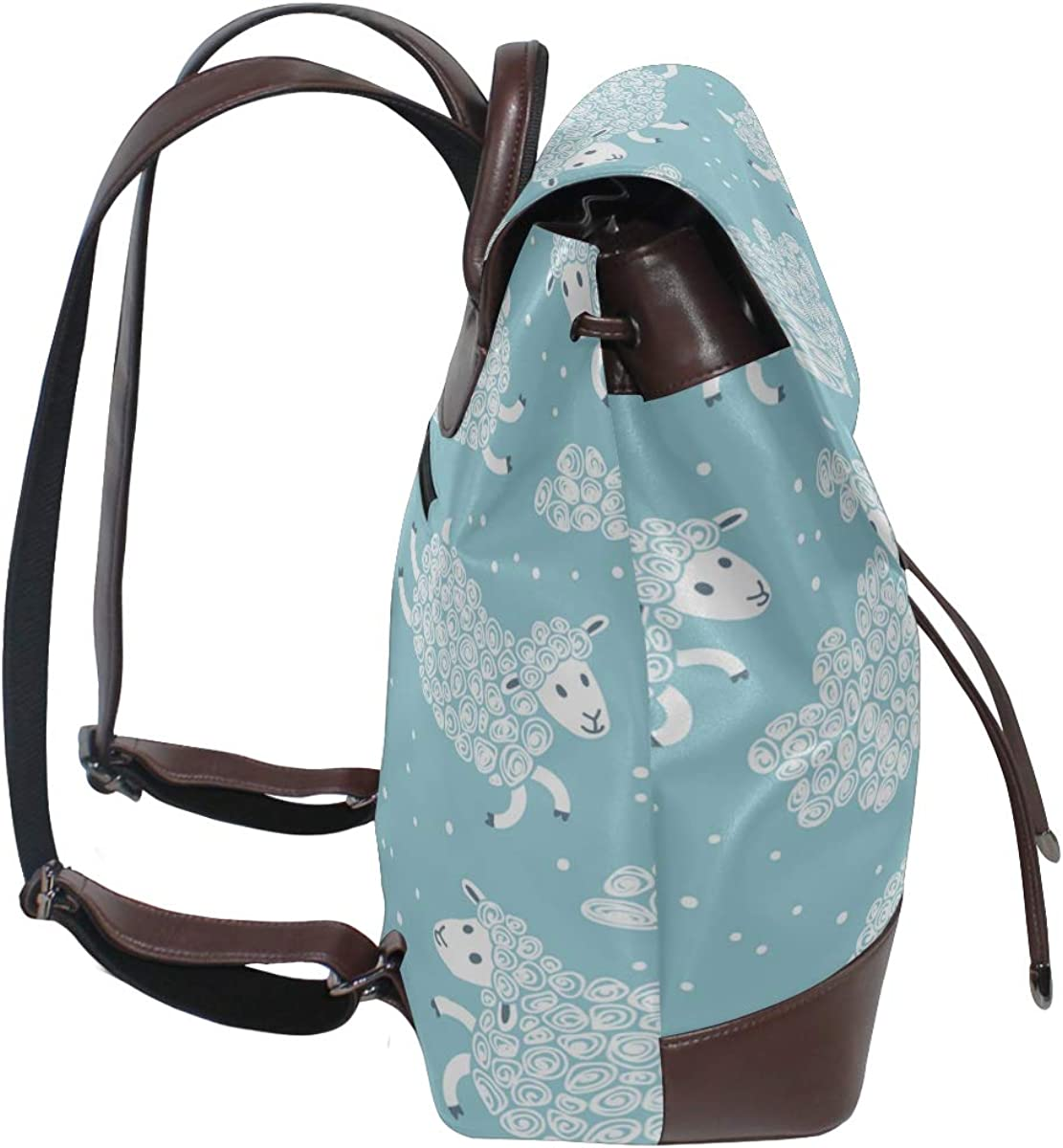 Cute Sheeps Jumping Over A Fence Ladies Leather Backpack Classic Leather Backpack Drawstring Waterproof Leather Backpack Women Womens Shoulder Bag For Women