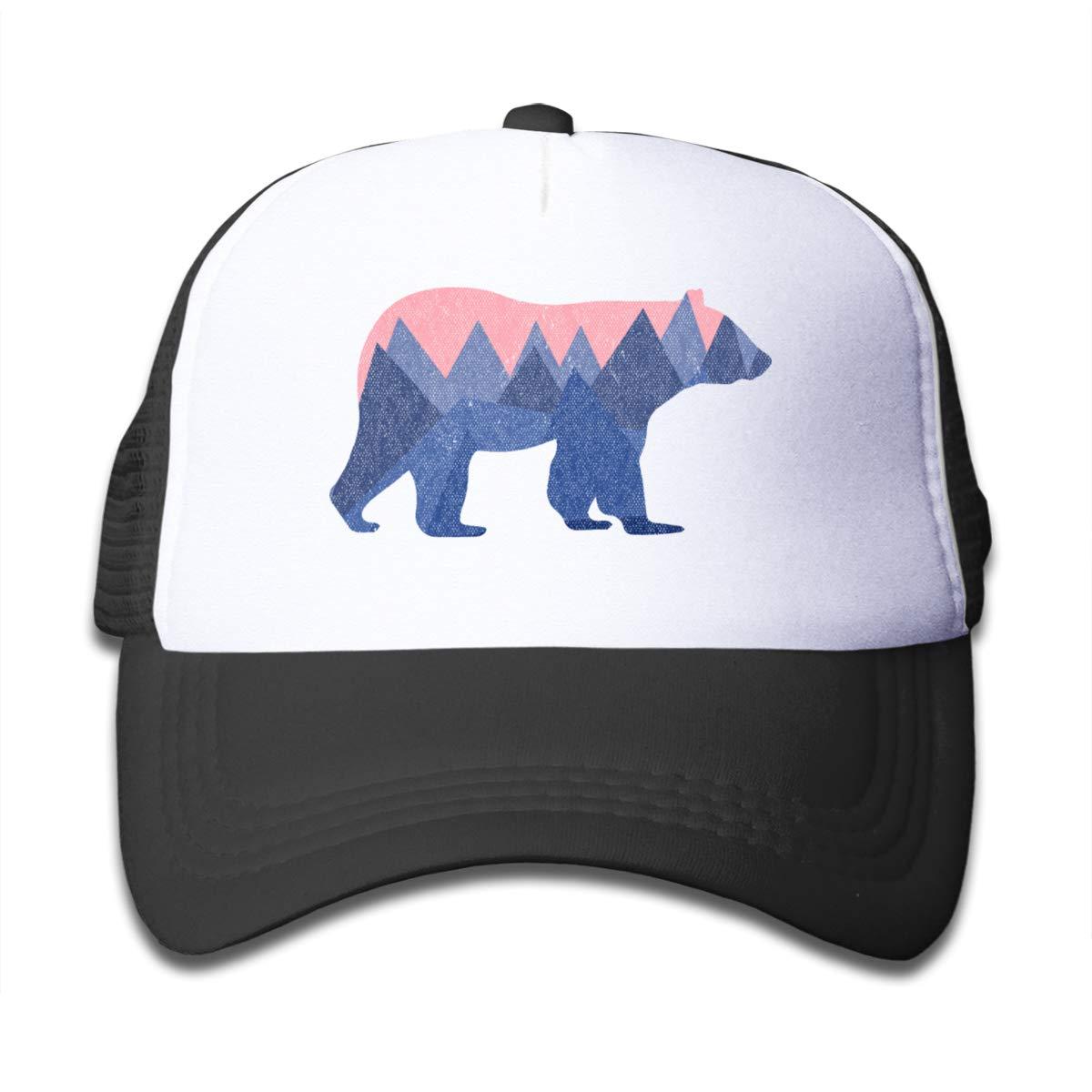 Waldeal Bear Mountain Youth Toddler Mesh Hats Boys and Girls Baseball Trucker Cap Black