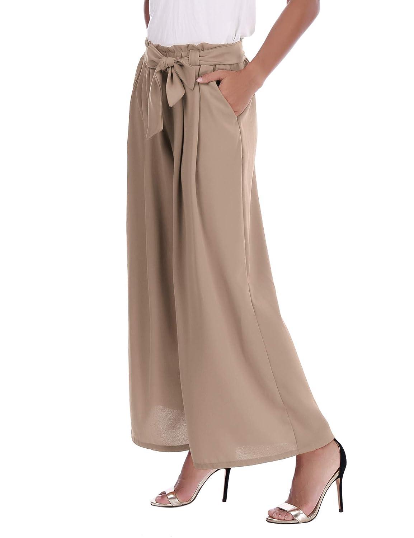 Pantalon Ancho Y Ligero Para Primavera Verano Abollria Pantalones Elegantes Para Mujer Pantalones De Pierna Ancha Con Cintura Alta Pantalones