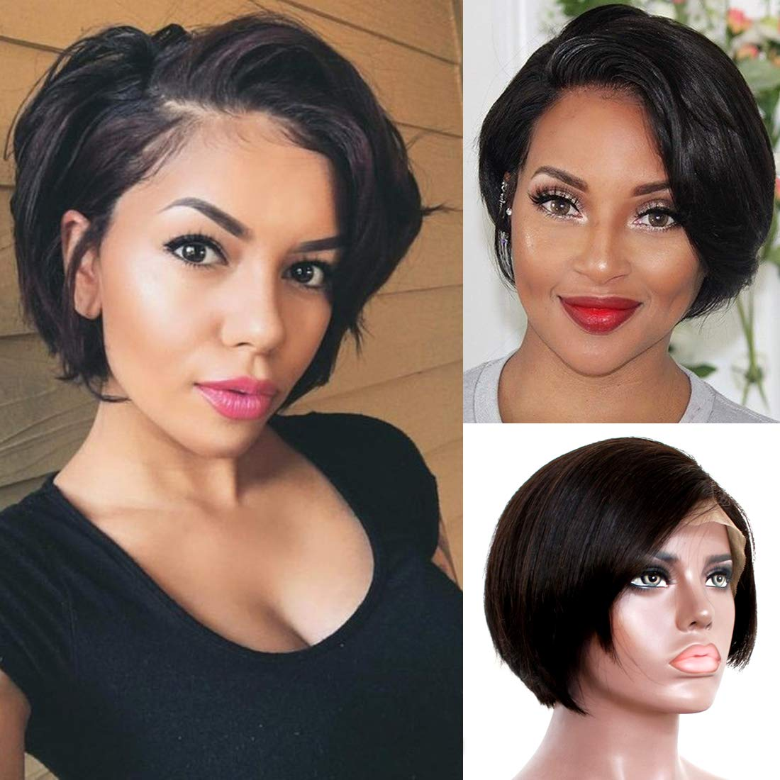 Liwihas 11x11 Lace front Wigs Human Hair Pixie Cut Wigs Short Bob Wigs for  Black Women 11% Density Brazilian Virgin Human Hair with Pre Plucked