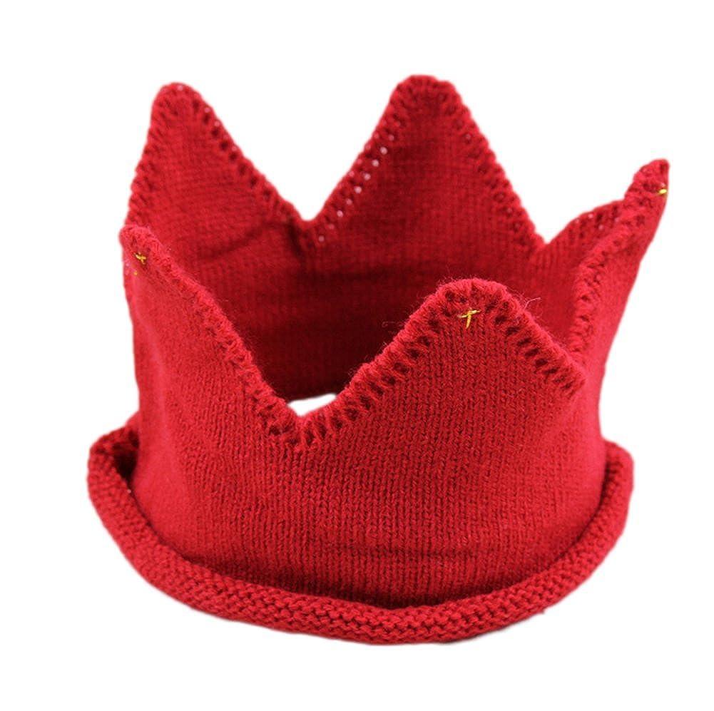 Leisial Corona Sombrero de Copa Vacía Knit Princesa Gorras Casquillo Gorra Adorable de Fotografía para Bebé Niños