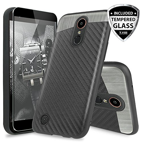 LG K20 Plus/LG K20 V/LG Harmony/LG Grace 4G LTE Case, with TJS [Full Coverage Tempered Glass Screen Protector] Ultra Slim Fit Shockproof Carbon Fiber Case Built-in Metal Plate Back (Silver/Black)