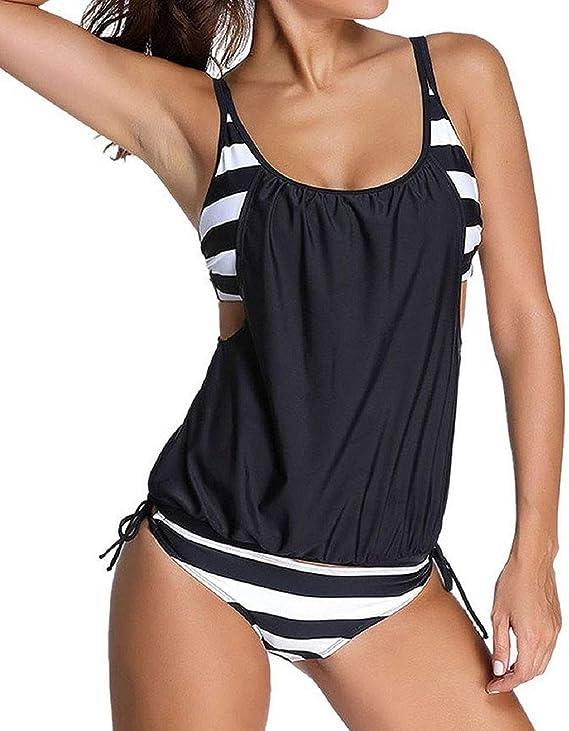 TALLA XXL. Tuopuda Verano Traje de Baño Dos Pieza de Mujer Negro Blanco Raya Cojín de sostén Bañador para Nadar Playa Cómodo Camisolas y Pareos
