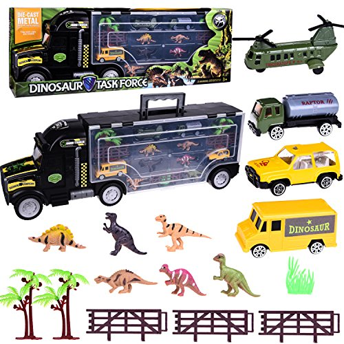Dinosaur Toys 17 pcs Tow Truck Transport Racer Vehicle Trailer Boys Toys Trucks Set for Educational, Science Project, Kids Birthday Parties, Party Favors with a Car Shape Container