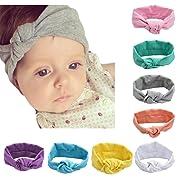 DANMY Baby Rabbit Ears Headband Cotton Cloth Elastic Hair Band Kink Toddler Soft Turban