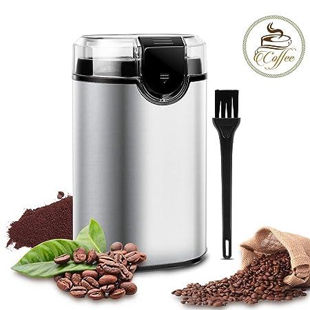 Molinillo de Café Eléctrico, morpilot Molinillos de Semillas Molinos de Especias Granos Azúcar, Capacidad 70g, Potencia 150W, Cuchillas de Acero ...