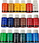 Acrylic Paint Set By Color Technik Artist Quality LARGE SET 18x59ml 2 Ounce Bottles Best Colors For Painting Canvas Wood Clay Fabric Nail Art & Ceramic Rich Pigments Heavy Body GIFT BOX