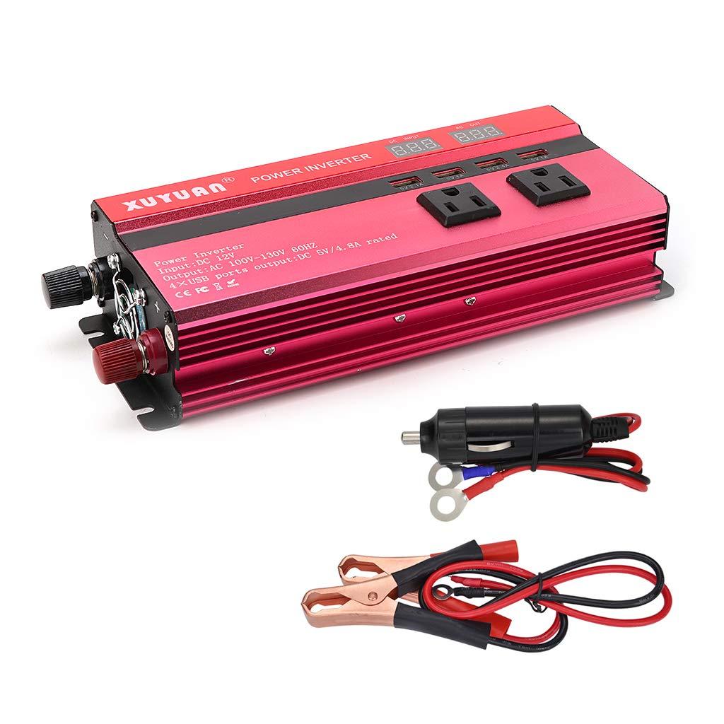 Runrain 4000W Solar Power Inverter Sine Wave LED 4 USB DC12/24V To AC110V/220V Convert