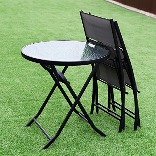 Giantex 3 Piece Table Chair Set Metal Tempered Glass