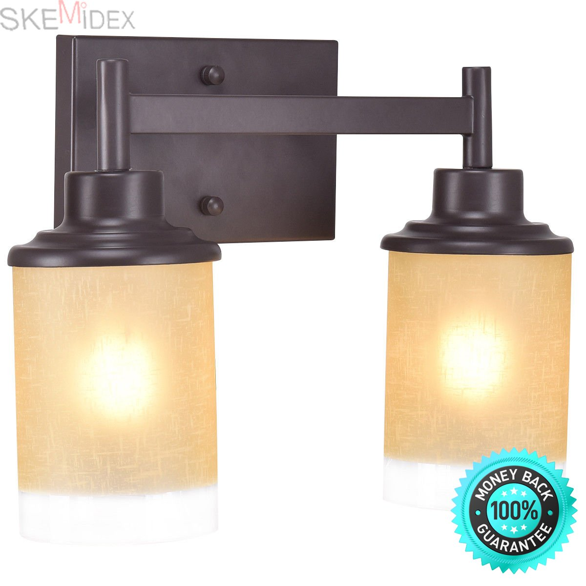 SKEMiDEX---Vanity Light Wall Mounted 2 Light Bathroom Vanity Fixture Antique Bronze Bulbs. Black Wall Industrial Vintage Simplicity Lamp Fixture Steel Finished for Cafe Club 2 Light