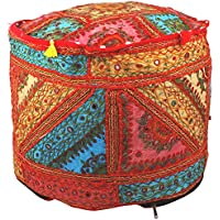 Maniona Crafts Indian Embroidered Patchwork Ottoman Cover,Traditional Indian Decorative Pouf Ottoman,Indian Vintage Patchwork Ottoman Pouf , Indian Comfortable Floor Cotton Cushion Ottoman Pouf,14x18