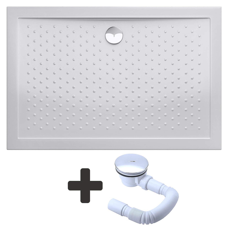 Receveur de douche bac a douche blanc anti-glisse acrilique avec bonde AL01 LUCIA04AR 80x90x4cm Sogood