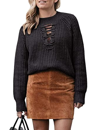 2463fbcdd1 Image Unavailable. Image not available for. Color  Womens Lace Up Front  Sweater Criss Cross Long Sleeve Cable Knit ...