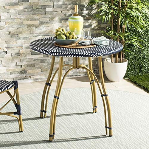 Safavieh PAT4011A Outdoor Collection Kylie Navy and White Rattan Bistro - Pub Natural Table Finish Collection