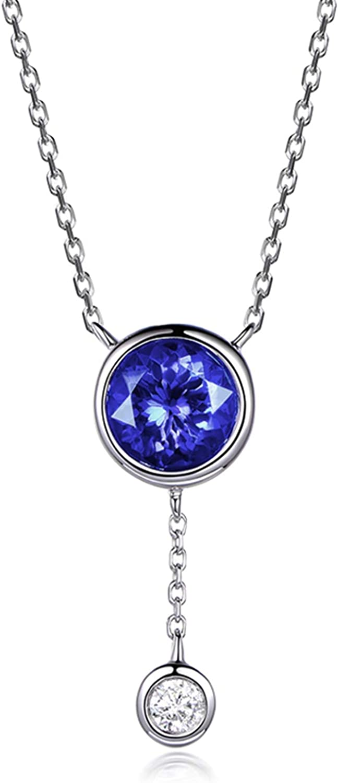 KnSam Collar de oro blanco 750 para mujer con colgante redondo de oro blanco con tanzanita de 1,02 quilates y diamante de 0,07 quilates, color plateado y azul