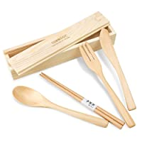 Deals on 4-Piece Handmade Wood Flatware Set with Box