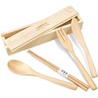 4-Piece Topbooc Handmade Wood Flatware Set with Box