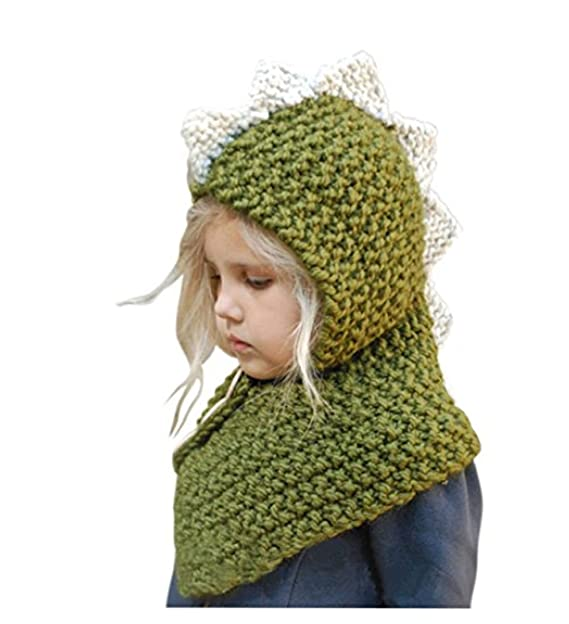 Amazon Winter Kids Hats Dinosaur Animal Knitted Coif Hood Scarf