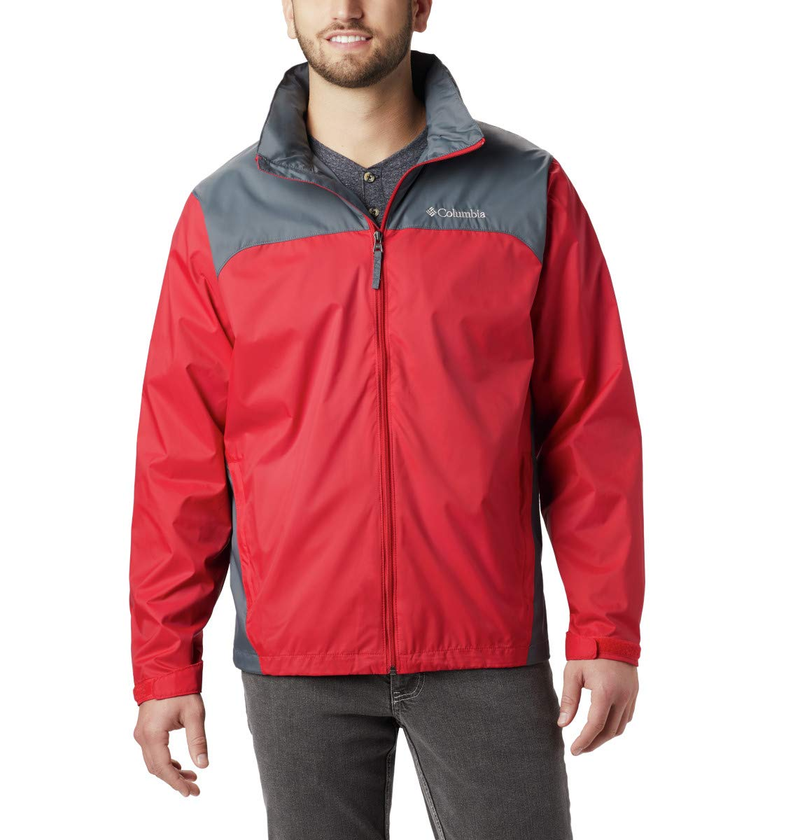 Columbia Men's Big & Tall Glennaker Lake Packable Rain Jacket,Mountain Red/Graphite,2X Tall