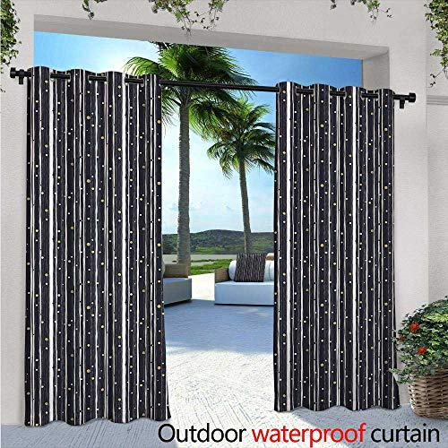 (Stripes Fashions Drape Hand Drawn Barcode Pattern with Ornamental Circles Geometric Illustration Outdoor Curtain Waterproof Rustproof Grommet Drape W120 x L108 Dark Blue Gold)