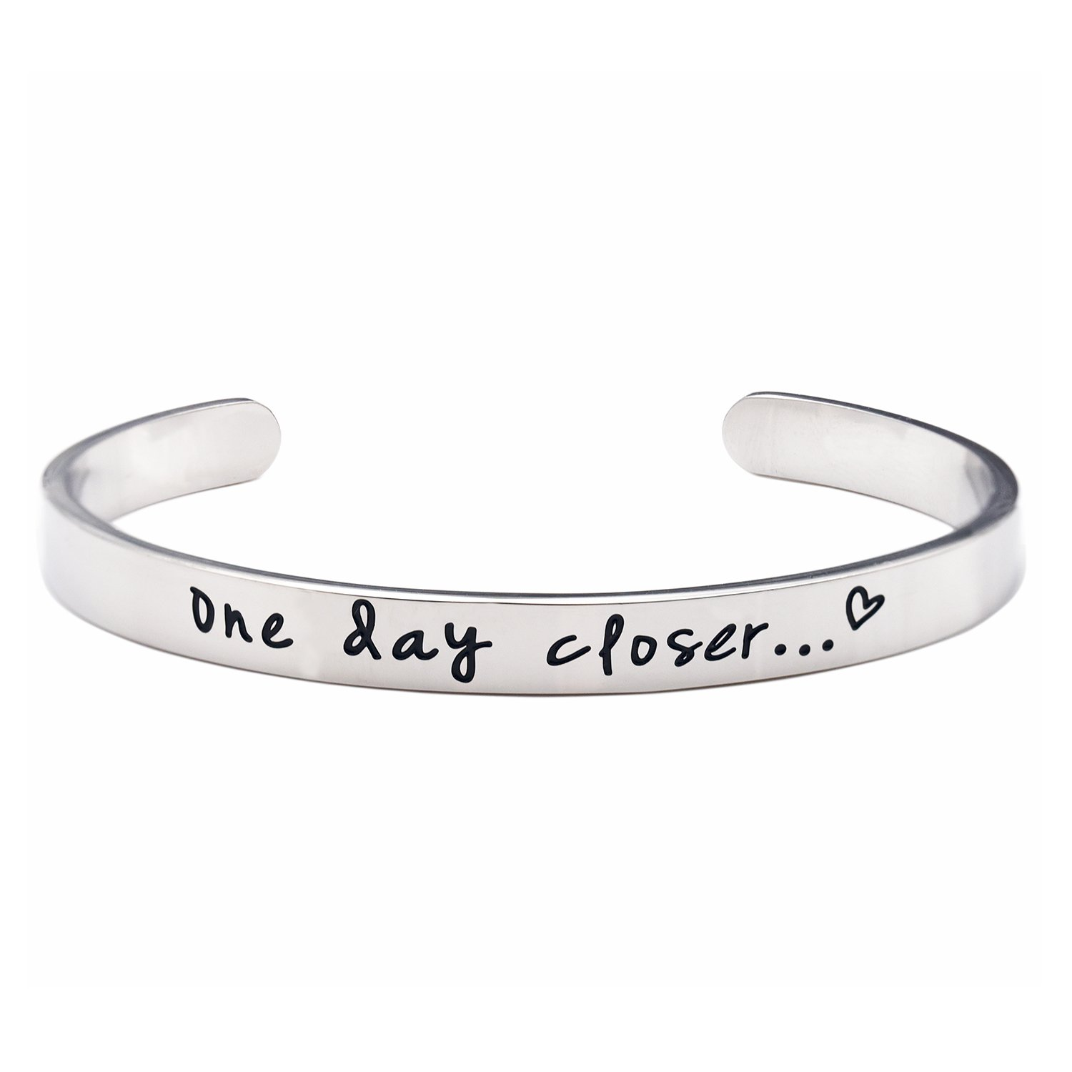 LParkin One Day Closer Bracelet Deployment Gift Military Jewelry Gifts for Wife Girlfriend Long Distance Relationship Jewelry (Cuff)