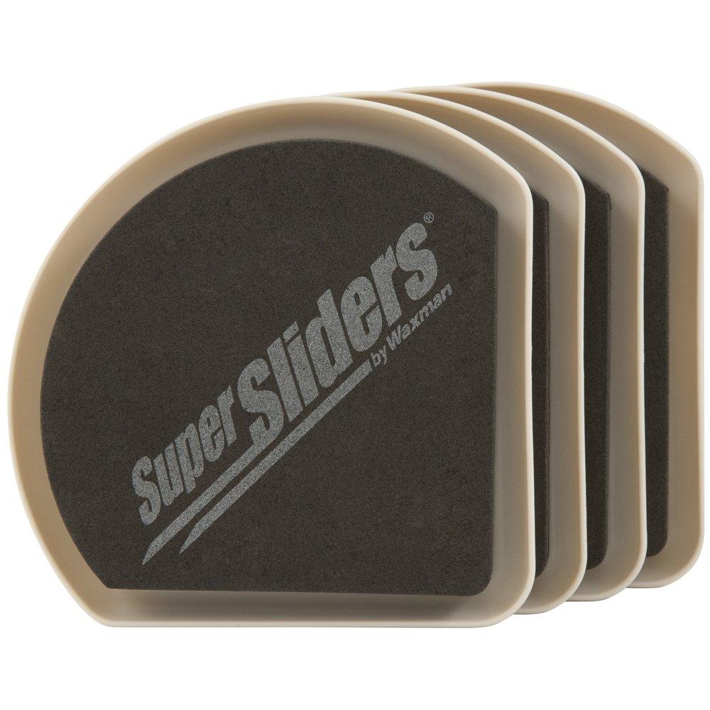 SuperSliders 4734195N Reusable Slide and Hide Furniture Movers for Carpet- Square Edge for Walls & Corners- Stays Hidden Under Furniture, 5'' Linen (4 Pack)