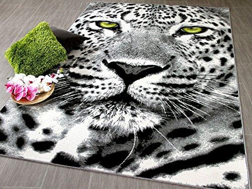 Designer Teppich Carat Gepard Grau Grün in 3 Größen