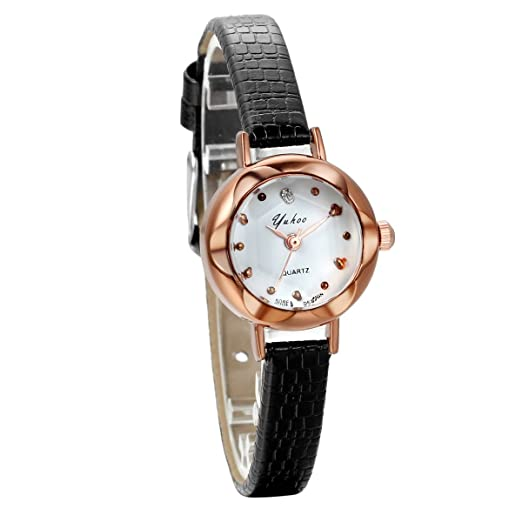 Jewelrywe Relojes de mujer cuero cuarzo, reloj de flor brazalete pequeño elegante para señorita,