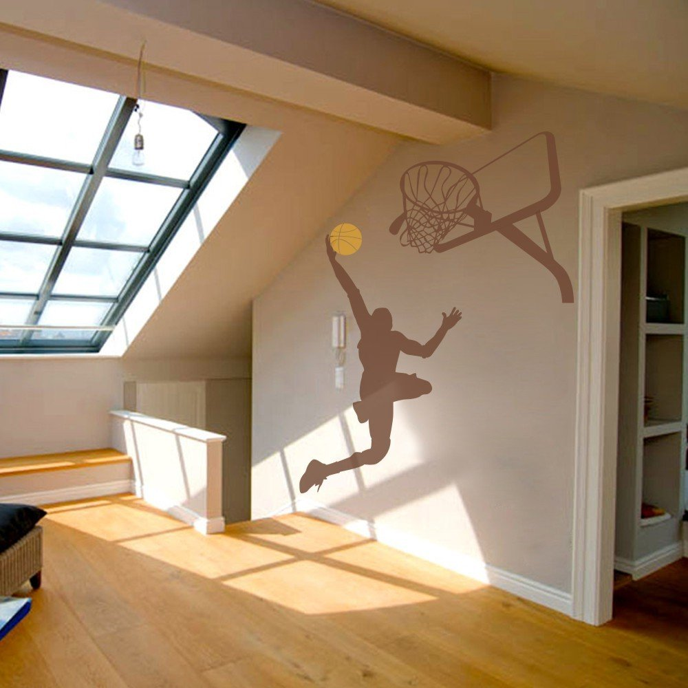 Bezaubernd Wandtattoo Basketball Das Beste Von Vinyl Spieler Wand-kunst Aufkleber Basket Springen Sport